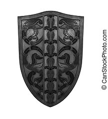 Ancient shield isolated on white background