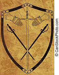Ancient 16th Century War Shield of Arms on Brown Crackled Surface