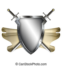 Ancient shield with scroll and two swords on white...
