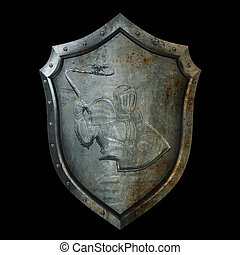 Ancient shield with the relief of a knight in armor.