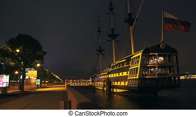 Ancient ship in St. Petersburg. Night. 4K.