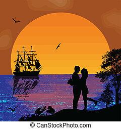 Ancient ship tropical sunset