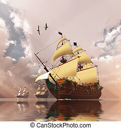 Ancient Ships - Three tall ships in full sail cross a large ...