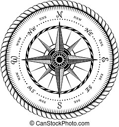 Ancient Sign of Wind Rose Engraving Stylized - Illustration...