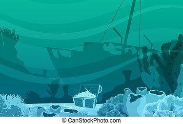 Ancient Sinking Ship Gold Treasure Marine Coral Underwater Ocean Illustration