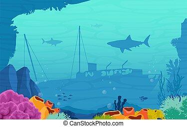 Ancient Sinking Ship Shark Fish Marine Coral Underwater Ocean Illustration