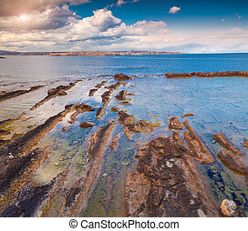Ancient Siracusa city. View from Area Marina Protetta del...