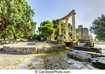 Ancient site of Olympia, Greece - Ruins of the ancient site ...