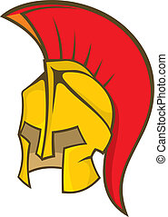 Ancient soldier helmet - Illustration of a deep yellow and...