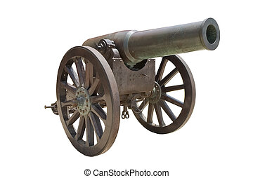 Ancient Spanish howitzer cannon ( Ob�s de bronce de 21cm Plasencia Md. 1885/91 ) isolated on white
