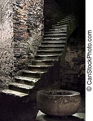 Ancient staircase - Spooky interior with ancient stone...