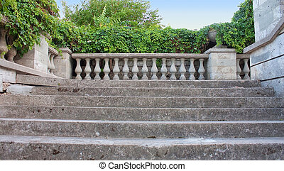 Ancient stairs and columns with ivy