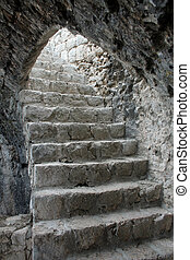 ancient stairs in Ston (Croatia)