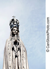 ancient statue of our Lady with clasped hands - statue of...
