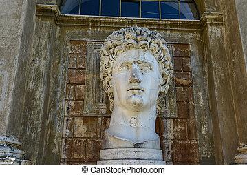 Ancient statue of Roman Emperor Gaius Julius Caesar Augustus at