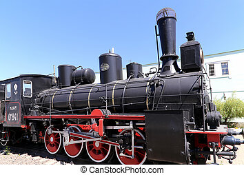 Ancient steam locomotive, Moscow museum of railway in Russia, Rizhsky railway station (Rizhsky vokzal, Riga station)