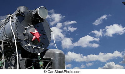 Ancient steam locomotive, Moscow