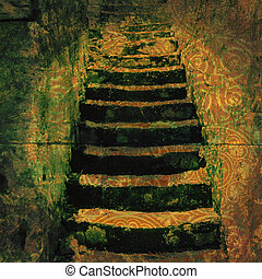 Ancient Steps - Old stairs and layers of textural color....