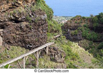 Ancient stone aqueduct, town of Los Realejos, Tenerife, Spain