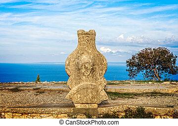 Ancient stone artefact at Vouni palace, Guzelyurt,  Northern...