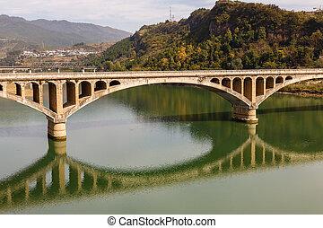 ancient stone bridge over the Bailong River