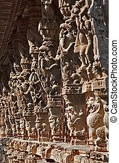 Ancient stone carvings in Varadaraja Temple. Kanchipuram, Tamil Nadu, India