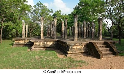 Ancient Stone Columns and Foundation of Sri Lankan Ruins