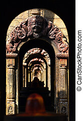 Ancient stone Hindu temple tunnel.
