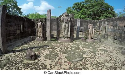 Ancient Stone Sculptures inside Historical Ruin in ...