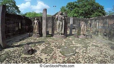 Ancient Stone Sculptures inside Historical Ruin in Polonnaruwa, Sri Lanka
