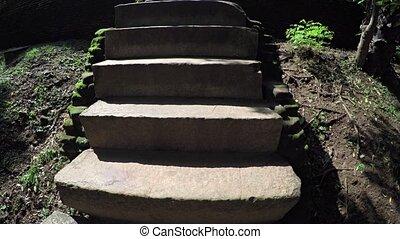 Ancient Stone Steps near the Bathing Pool Ruins of Polonnaruwa, Sri Lanka