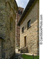 ancient stone walls at st. Peter church, Agliate