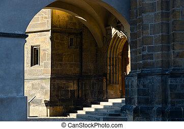 Ancient stone walls of Prague Castle, Prague, Czech Republic