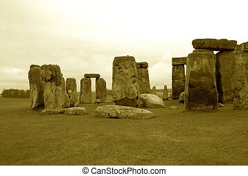 Ancient Stonehenge - Ancient stonehenge in antique appearing...