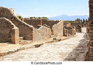 Ancient street in Pompeii, Italy