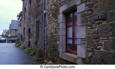 Ancient street of french village - Ancient street with...