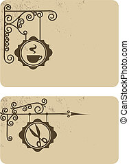 Ancient street signboard hairdresser's and coffee house, vector illustration