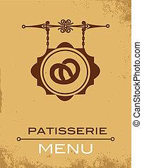 Ancient street signboard of bakery , vector illustration