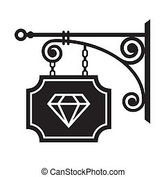 Ancient street signboard of  jeweler. Vector illustration