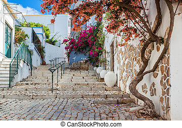 Ancient street village Estoi. Portugal, Faro.
