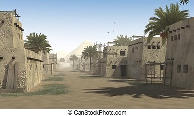 Ancient street with mud huts, palm trees and a pyramid, to...