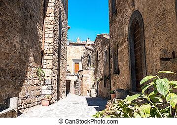 Ancient streets of the dying town in Italy, Civita di Bagnoregio, Lazio, Italy