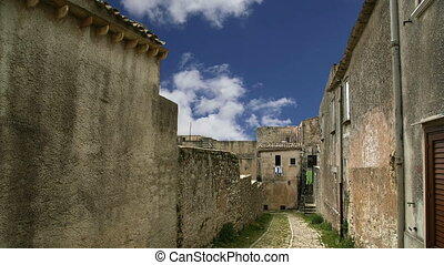 Ancient streets.Erice,Sicily,Italy - Ancient streets in old...