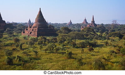 Ancient Stupas of Bagan Archaeological Area in Myanmar -...