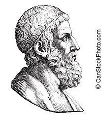 Archimedes - Ancient style engraving portrait of Archimedes,...