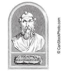Ancient style engraving portrait of Archimedes, the famous ancient Greek physicist and mathematician
