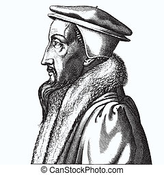 Ancient style engraving portrait of John Calvin