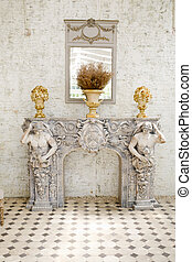 Ancient style mirror and table with a vase
