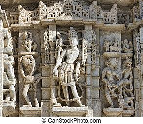 Ancient Sun Temple in Ranakpur. Jain Temple Carving....