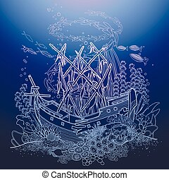 Ancient sunken ship and coral reef drawn in line art style....